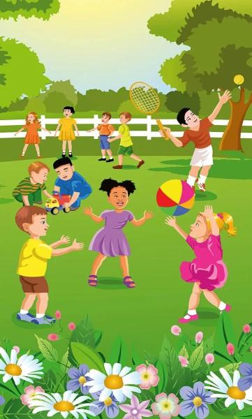 Vlies Fototapete Kinder im Garten 150x250