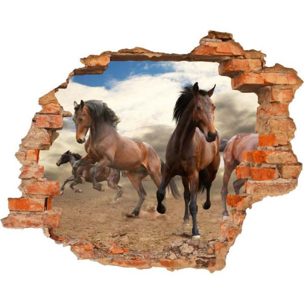 Wandsticker 3D-Optik Pferde Breakthrough