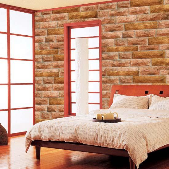 Tapete selbstklebend Steinmauer Kiesel rot Schlafzimmer
