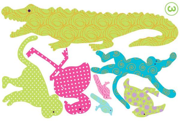 Wandtattoo Safari bunt Krokodil