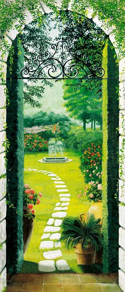 Türtapete Fototapete Türposter Pforte zum Garten