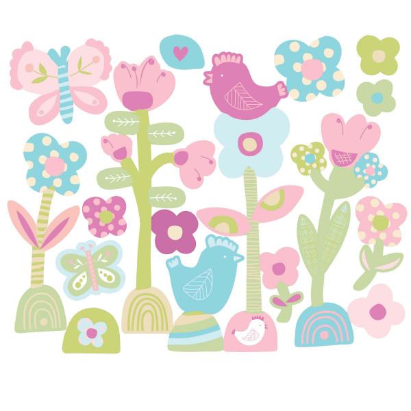 Wandsticker Baby Schmetterlinge Blüten