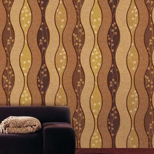 Selbstklebende Tapete elegante Wellen hellbraun Wohnzimmer