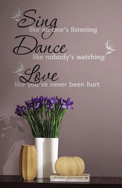 Wandsticker Sing Dance Love Flur