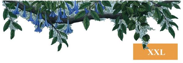Wandsticker Bordüre Dschungel Pflanze blaue Blüten