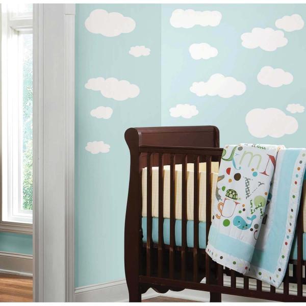 Wandtattoo weiße Wolken am Himmel Babyzimmer