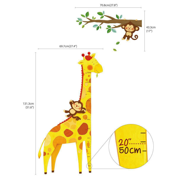 Wandsticker Giraffen Messlatte