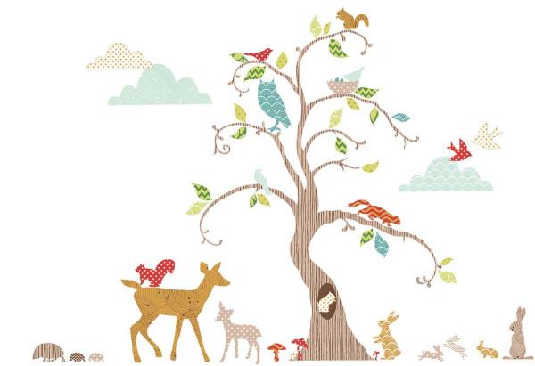Wandtsticker Waldtiere am Baum