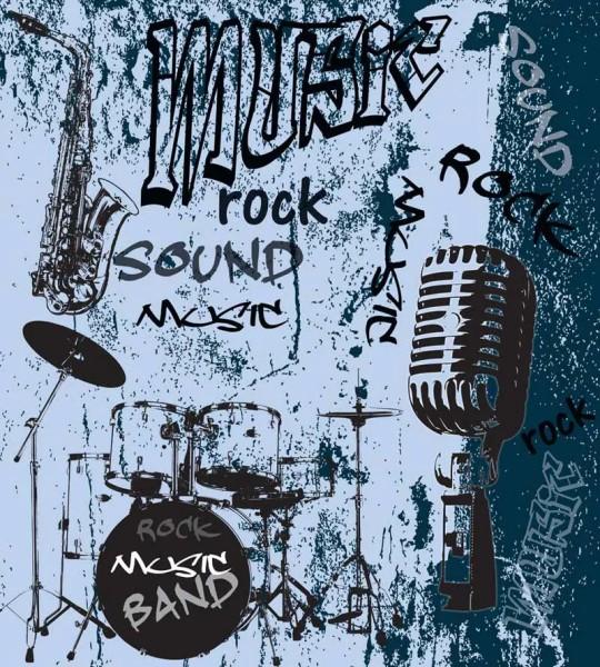 Vliestapete Rock Music Band Blau 225x250