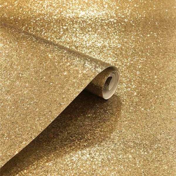 Luxus Vlies Tapetenrolle Glitter gold