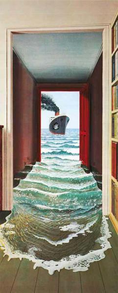 Türtapete Poster Die Flut Schiff Bad Tür