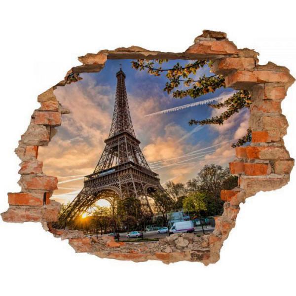 Wandsticker 3D-Optik Eiffelturm Breakthrough
