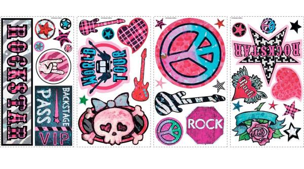 Wandtattoo Girls Rock and Roll