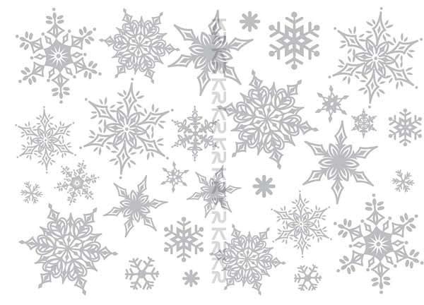 Wandsticker Schneeflocken silbern glitzernd