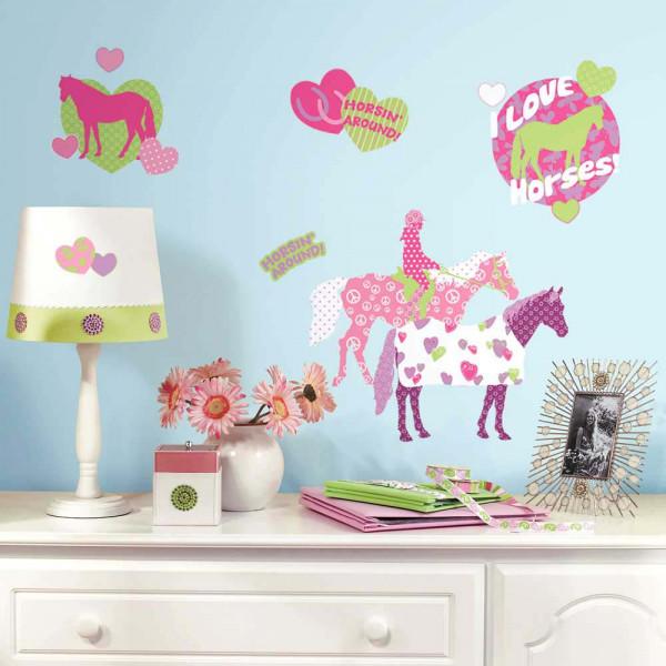 Wandsticker Pferde Reiten Mädchenzimmer