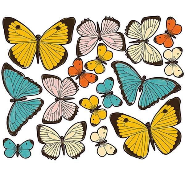 Wandsticker Pastell Schmetterlinge