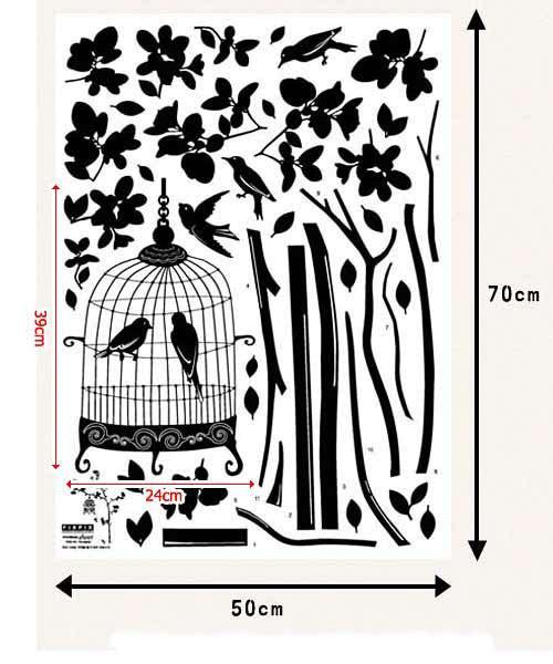 Wandsticker Nachtigall im Vogelkäfig Maße