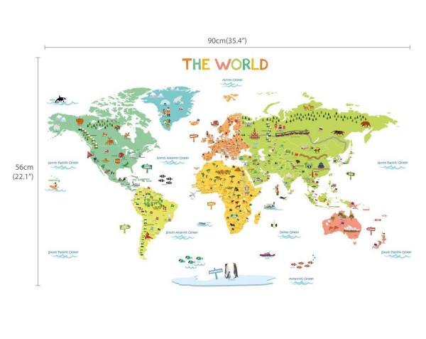 Wandsticker Weltkarte unsere Welt ist bunt klein