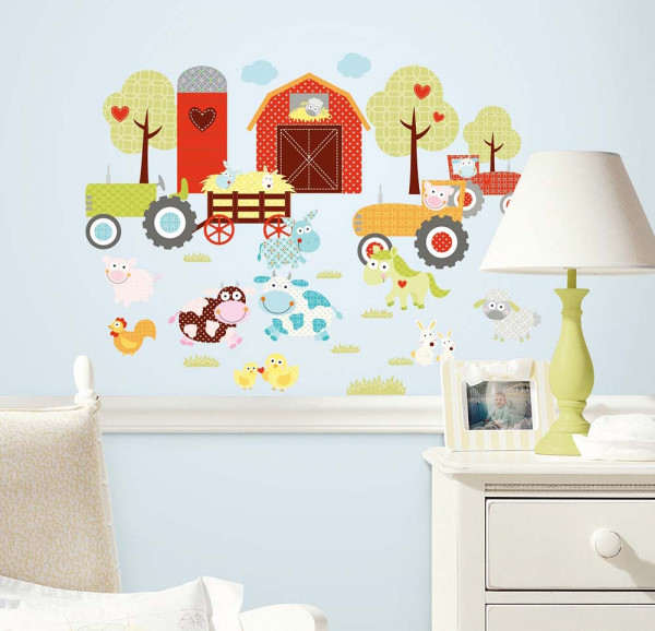 Wandsticker lustiger Bauernhof Kinderzimmer
