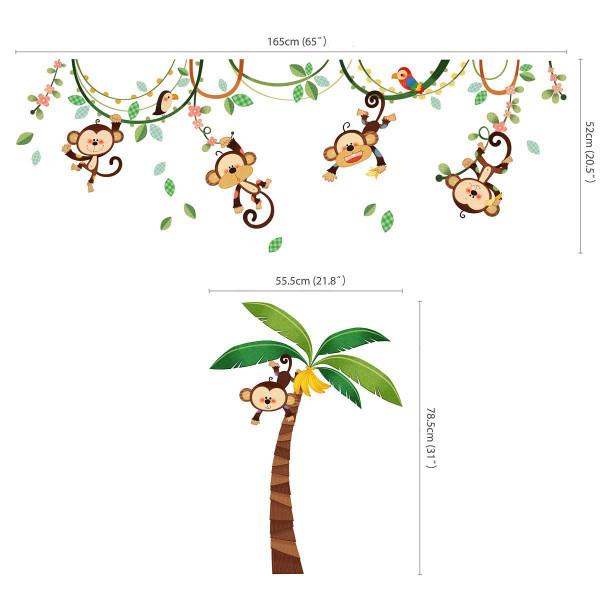 Wandsticker Affen an der Liane Maße