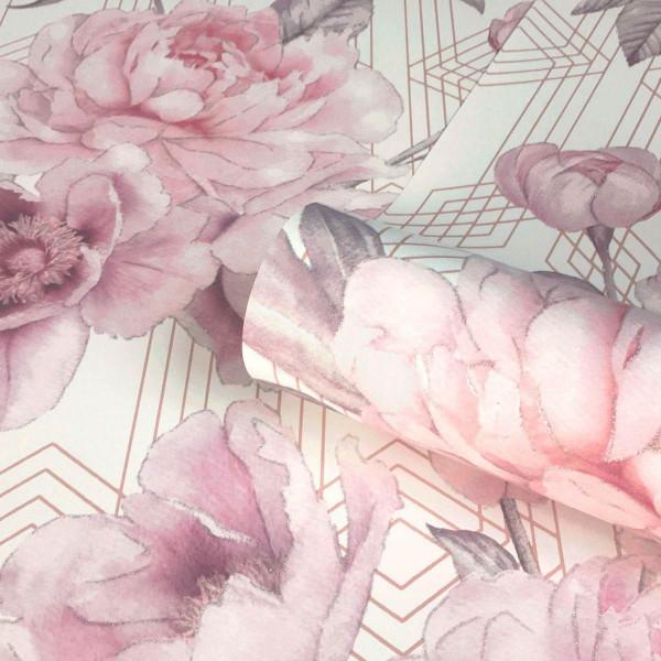 Tapete Rose Stella Pink Weiß