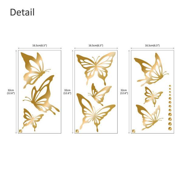 Wandtattoo moderne Schmetterlinge in gold
