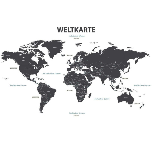Wandsticker Weltkarte deutsch grau XXL