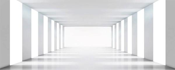 Panorama Vliestapete weißer Raum 375x150