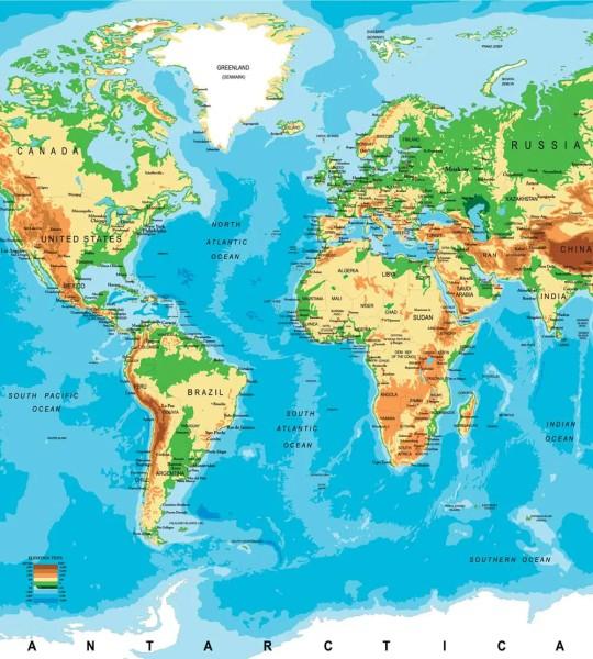Vliestapete Weltkarte 225x250