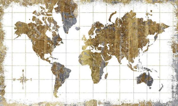 RoomMates Fototapete Weltkarte Gold Wandbild