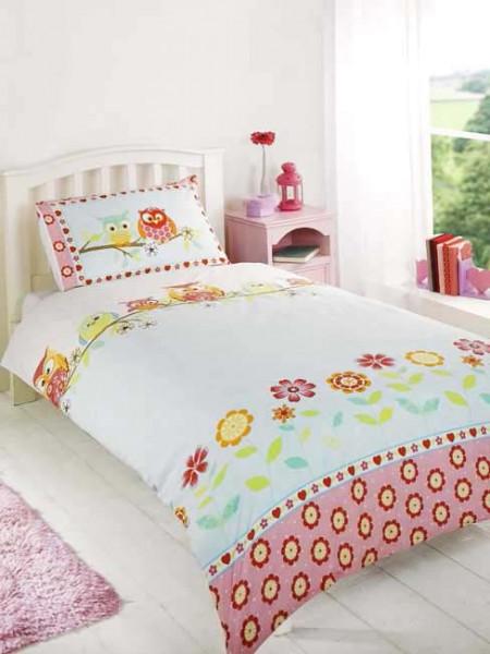Bettwäsche Bettgarnitur Eulen auf dem Ast