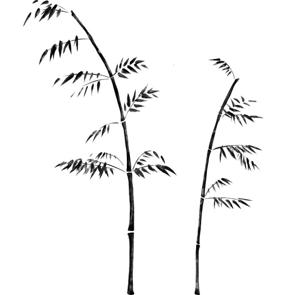Wandsticker asiatische Tuschezeichnung Bambus