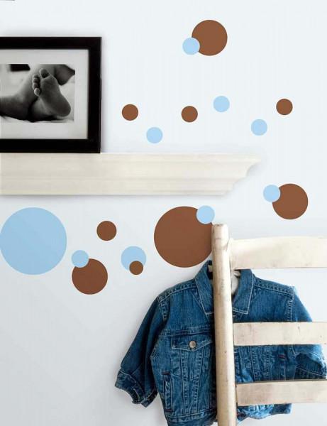 Wandtattoo Blaue Und Braune Punkte Kinderzimmer