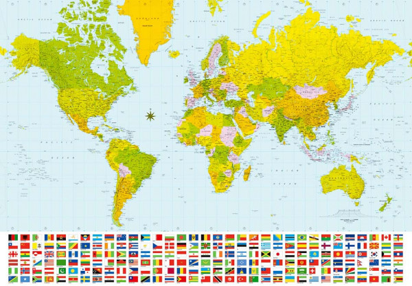 Fototapete Wandbild Weltkarte