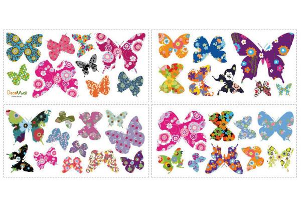 Wandsticker farbenfrohe Retro Schmetterlinge