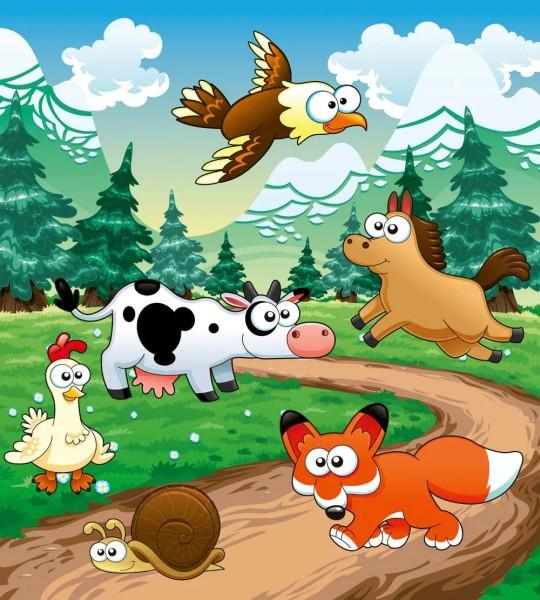 Vliestapete Tiere des Waldes 225x250