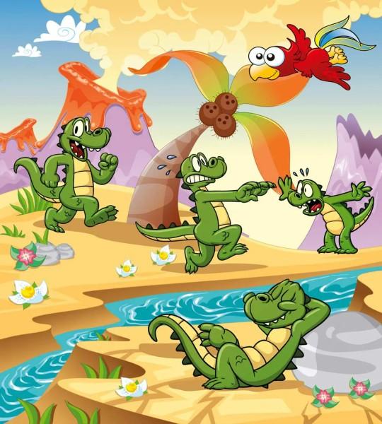 Vliestapete kleines Krokodil 225x250