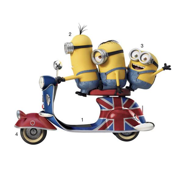 RoomMates Wandsticker Minions Invasion Motorroller