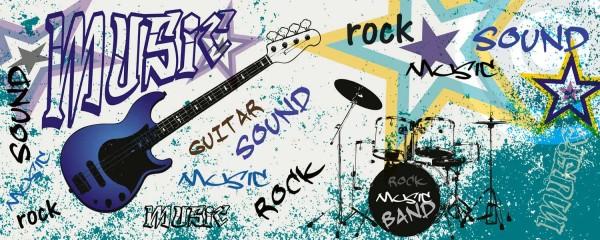Panorama Vliestapete Blue Guitar Rock 375x150