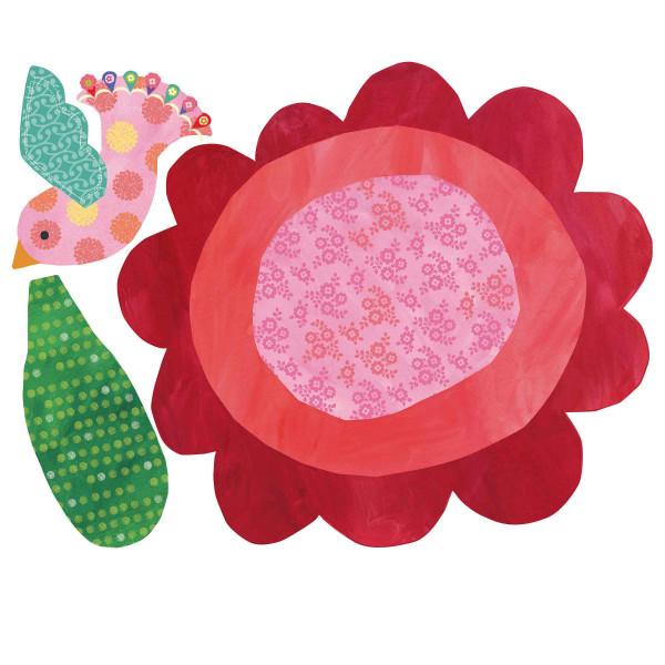 Messlatte Wandsticker Blume mit Vogel Wallplay