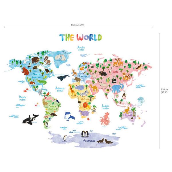 Wandsticker Weltkarte der Tiere Dekorationsgröße