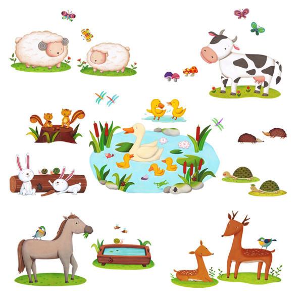 Wandsticker Bauernhof Tiere Milchkuh