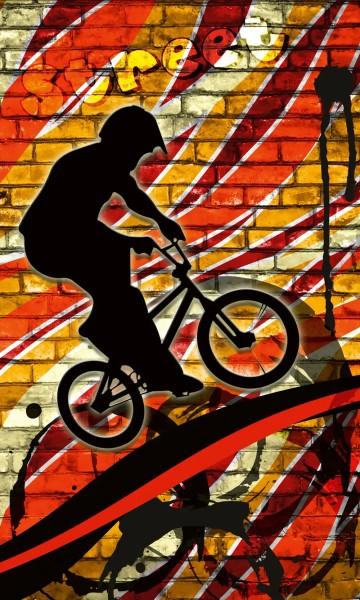 Vlies Fototapete Bicycle Street Art Red 150x250