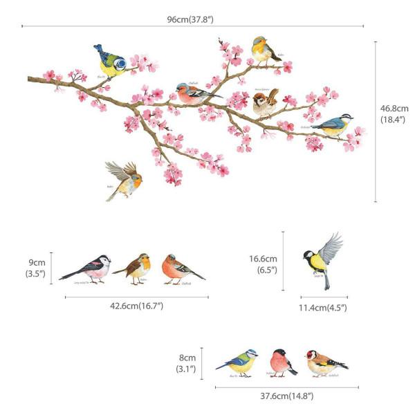 Wandsticker Gartenvögel auf Kirschblütenzweig