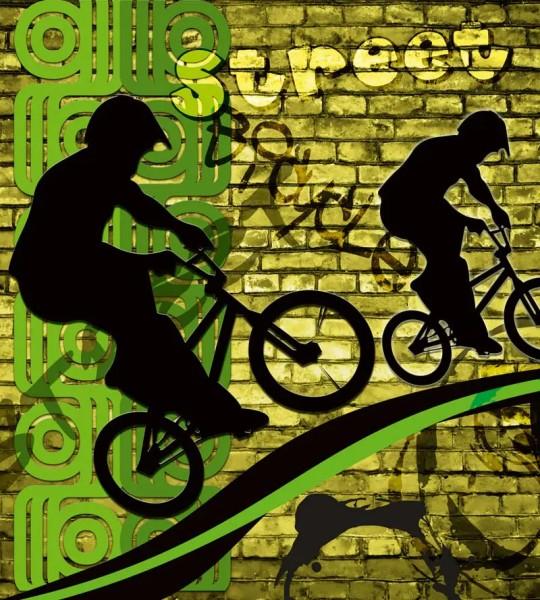 Vliestapete Bicycle Street Art Green 125x250