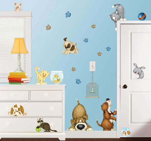 Eck-Wandsticker Haustiere