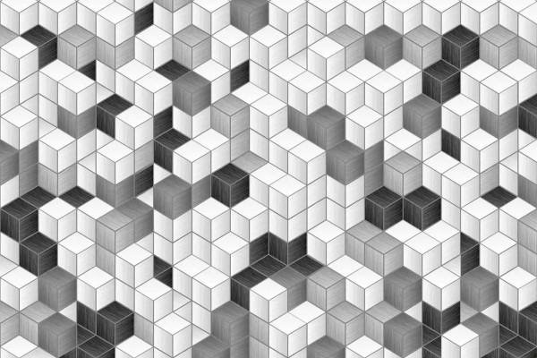 Vliestapete Würfelwand schwarz-weiß 375x250
