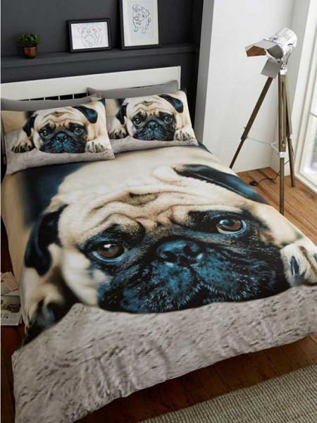 3D Doppel-Bettwäsche Hund Mops