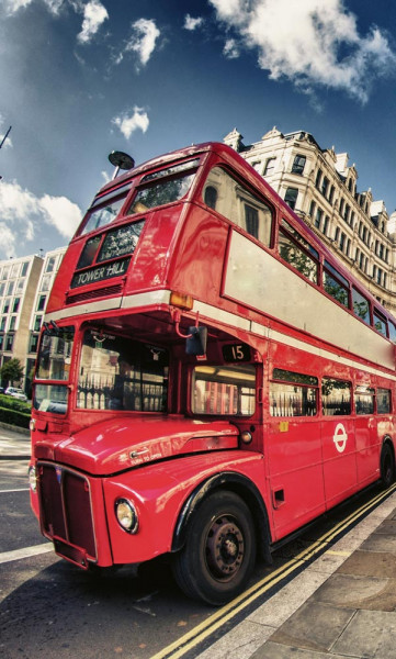 Vlies Fototapete Doppeldecker Bus 150x250