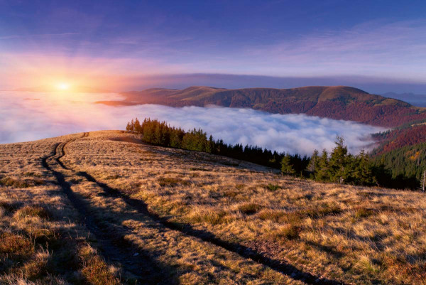 Vliestapete Morgendämmerung Berge 375x250